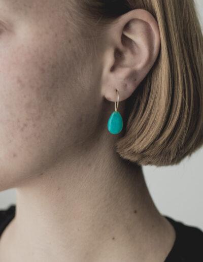 Ohrringe Amazonit Gold Anna Hirt Goldschmiedemeisterin und Schmuckdesign Gottsfeld Creußen Bayreuth